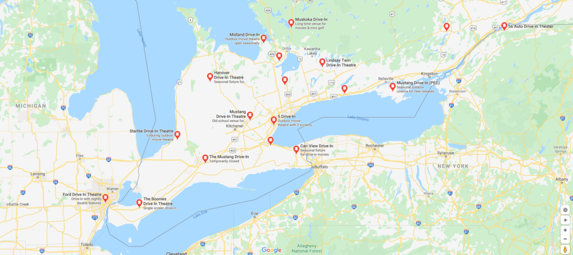 Ontario Drive-ins map
